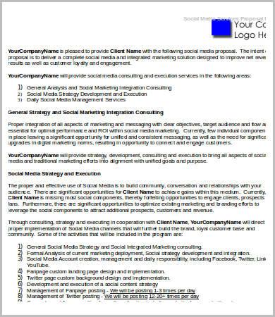Social Media Strategy Proposal 9 Free Word PDF Docs