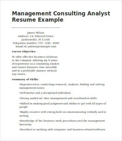 7 Management Consulting Resume Templates PDF DOC