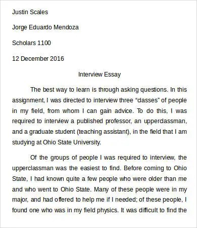 Classification Essay Thesis Statement Interview Essays Interview Essay Samples Examples Format Paper Narrative Essay Papers also Good High School Essay Examples Example Of An Interview In A Research Paper Advanced English Essays