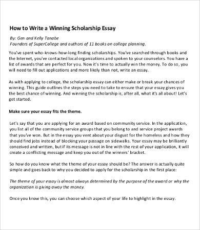 Sample Scholarship Essay 100 Original & Winning College