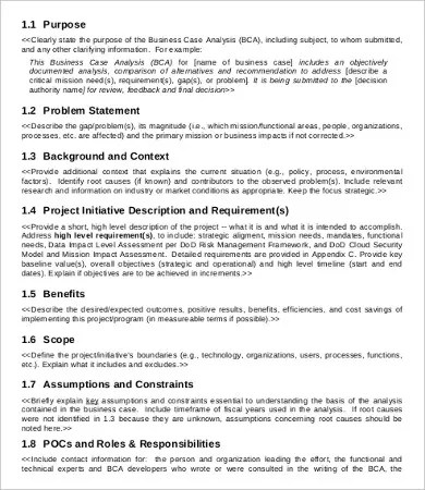 Business Case Analysis Template 8 Free Word PDF