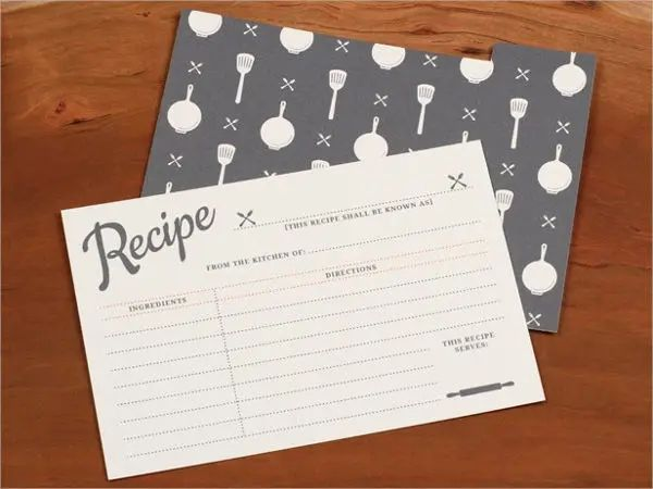 recipes cards template