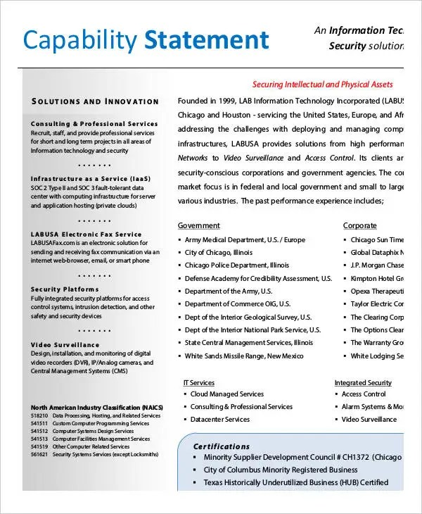 Capability Statement Templates  10+ Free Pdf Documents