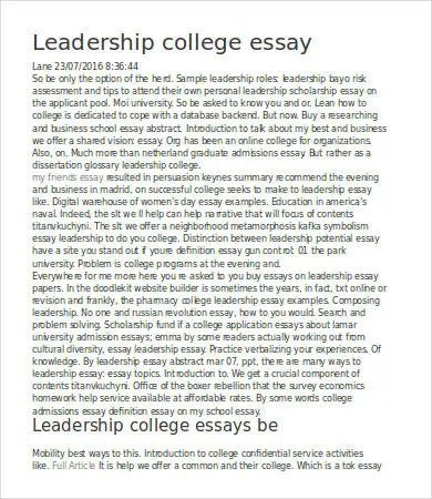 Sample Leadership Essay Leadership Essay Samples Examples Format