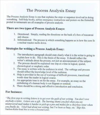 process analysis essay ideas