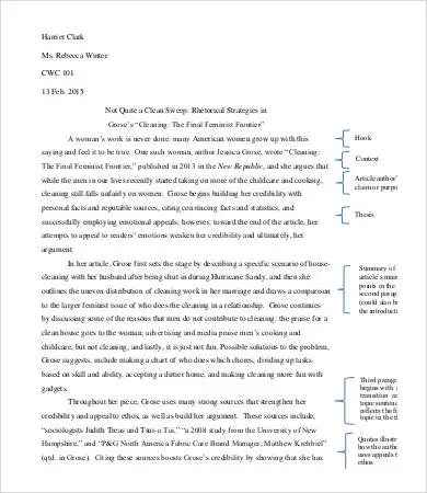 Analysis Essay Template 7 Free Sample Example Format