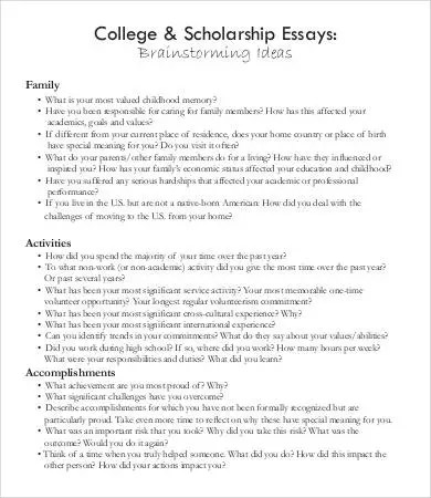 sample of a scholarship essay