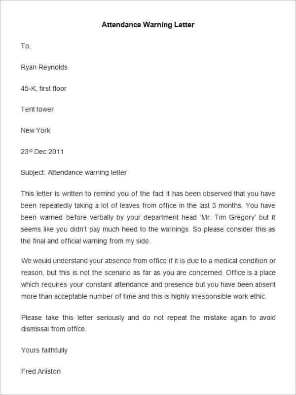32 HR Warning Letters PDF DOC Free & Premium Templates