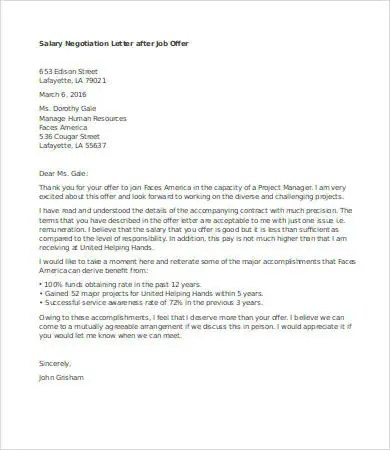 Salary Negotiation Letter 4 Free Word Documents Download