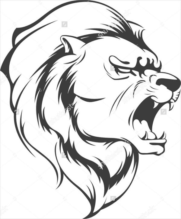 Dessin Lion Rugissant