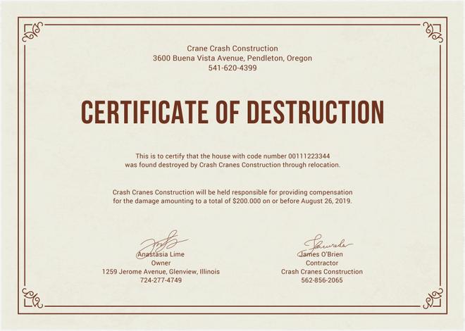 Certificate Of Destruction For Document Shredding Shred