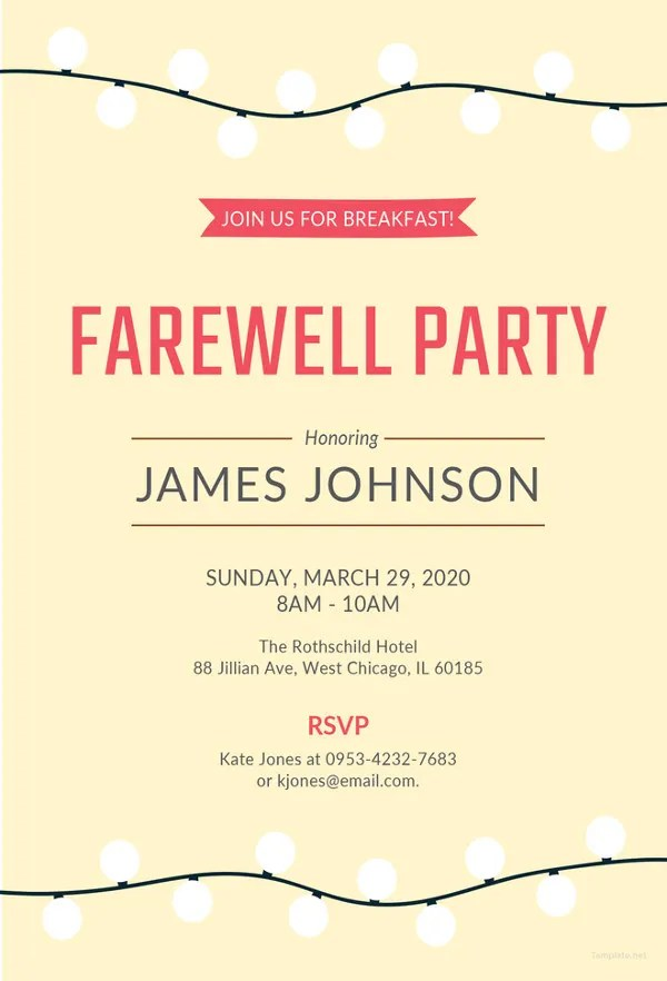 26 Farewell Invitation Templates PSD EPS AI Free