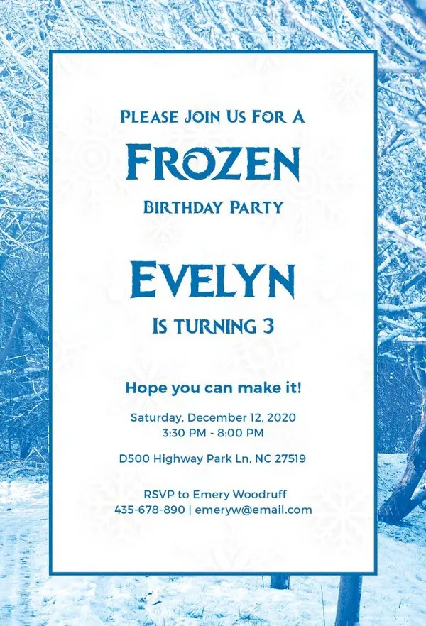Invitation Card Format Birthday Party