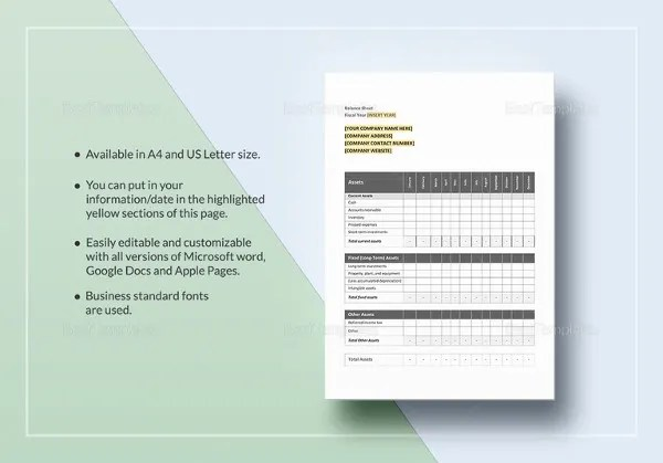 Personal Balance Sheet Template - 16+ Free Word, Excel, PDF ...