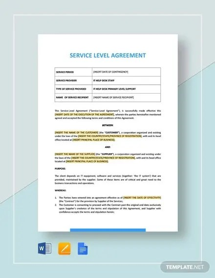 An sla should record a common understanding about services, priorities, responsibilities, guarantees, and possibly the right to. Free 19 Sample Service Level Agreement Templates In Ms Word Pdf Google Docs Pages Free Premium Templates