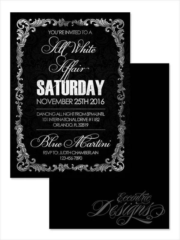 all black party invitations