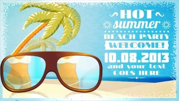 12 beach party invitations psd ai