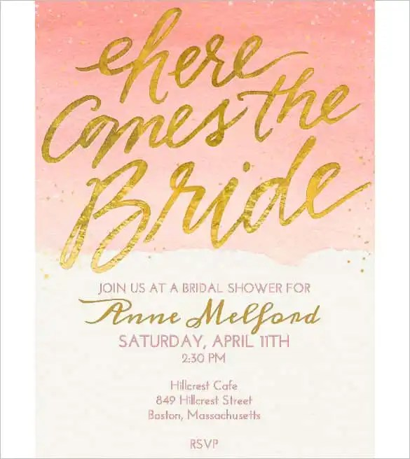 Bridal Shower Free Invitation Template