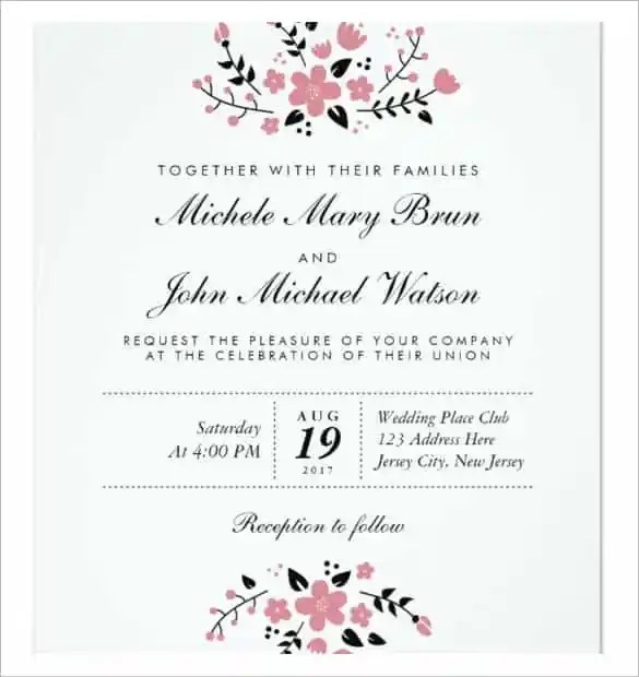 Pretty Fl Modern Stylish Wedding Invitation Template