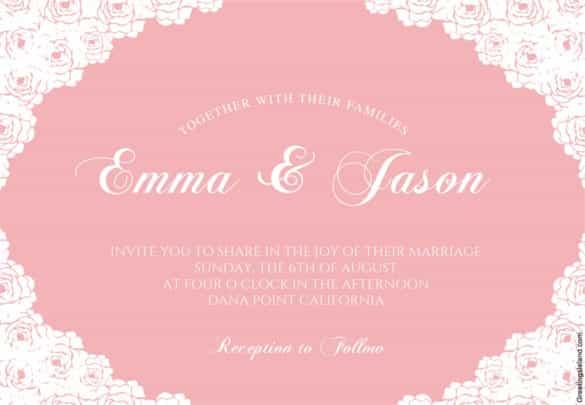 Rose Lace Corners Printable Wedding Invitation Template