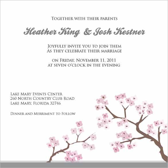 Exle Wording For Wedding Invitations Por