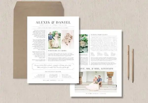 wedding newspaper program template