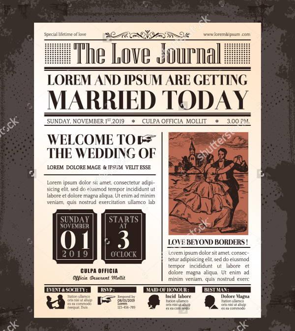 wedding invitation newspaper template