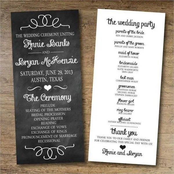 8 Chalkboard Wedding Program Templates  PSD Vector EPS AI Illustrator Download  Free