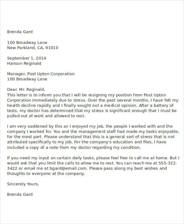 Resignition Letters Letter Of Resignation Email Sample 1 Week Notice