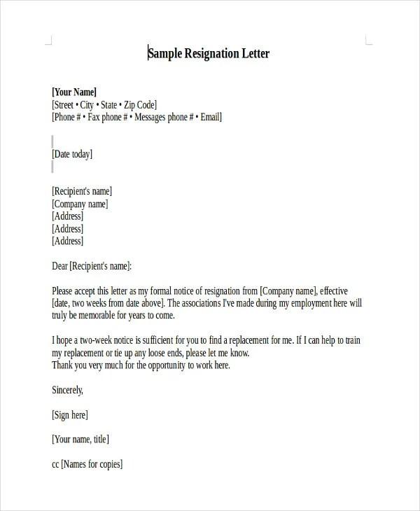 Resignation Letter Uk Example | Best Create professional ...