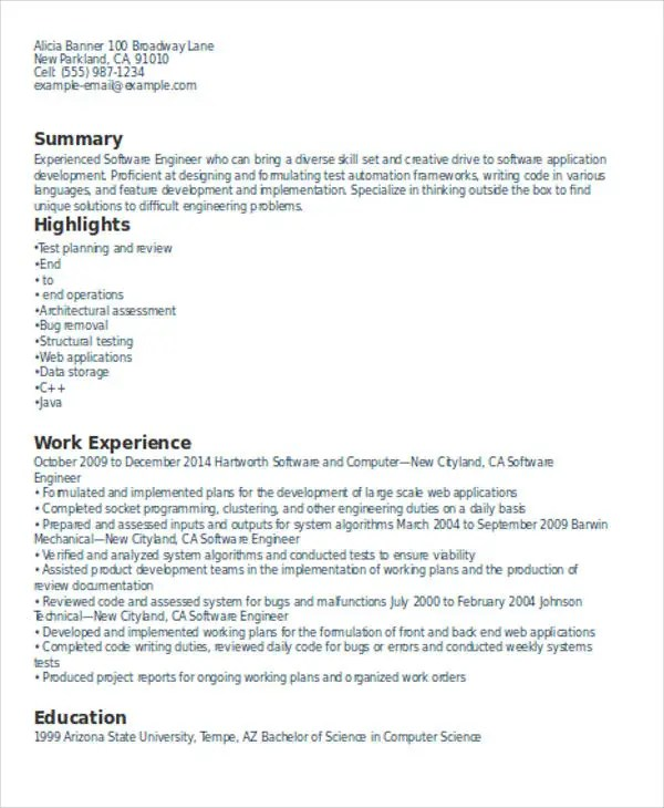 Experienced Resume Format Template 8 Free Word PDF Format