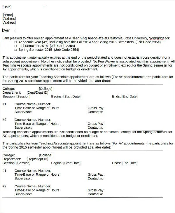 Teacher Appointment Letter Template 9 Free Word PDF