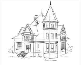 coloring pages colouring printable victorian adult sheets mansion sketch template templates dog outline drawing houses building architecture snoopy