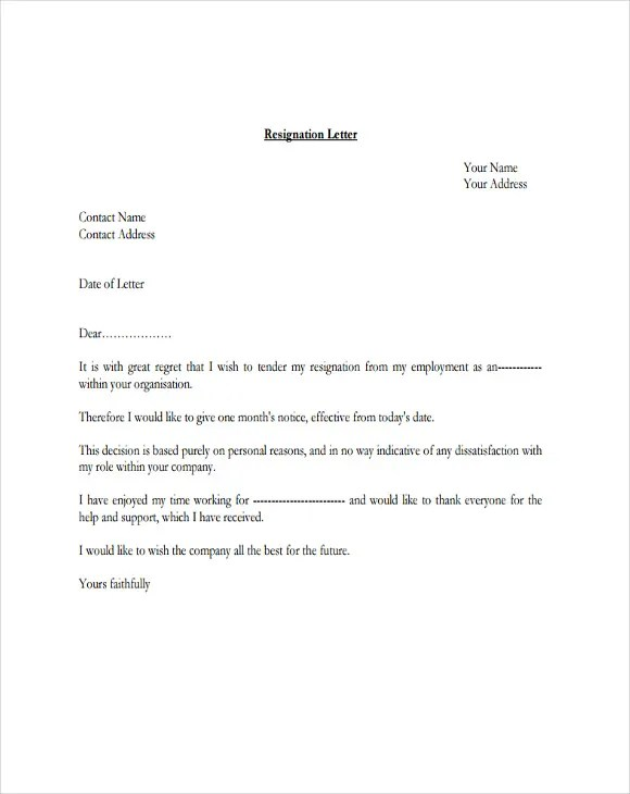 4 Resignation Letter with Regret Template  5 Free Word PDF Format Download  Free  Premium
