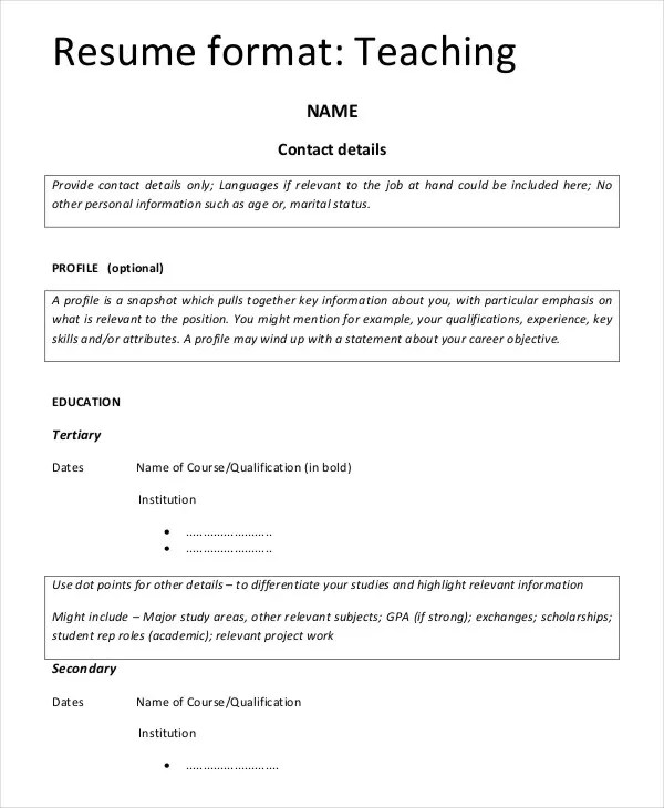 Resume Format Examples For Freshers Examples of Resumes