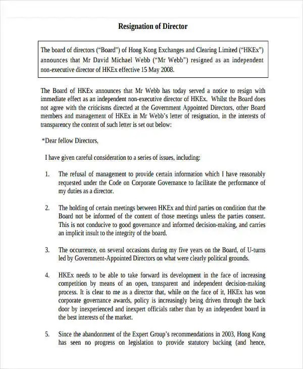 6 Board Resignation Letter Template  6 Free Word PDF Format Download  Free  Premium Templates