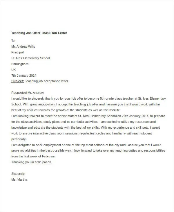 Thank You Letter For Job Offer Accepted | Docoments Ojazlink
