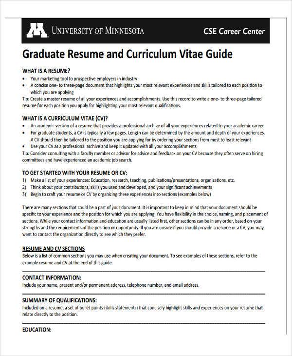 graduate application resume samples