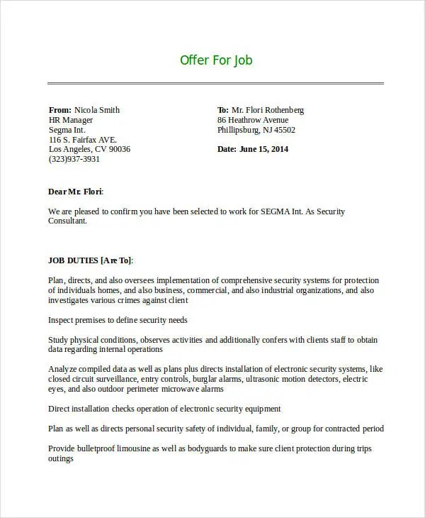 10 Consultant Offer Letter Templates PDF DOC Free