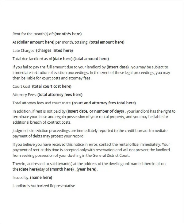 Tenant Warning Letter Template 8