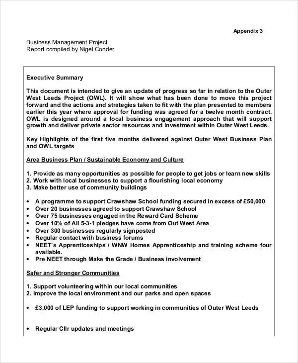 business project report sample
