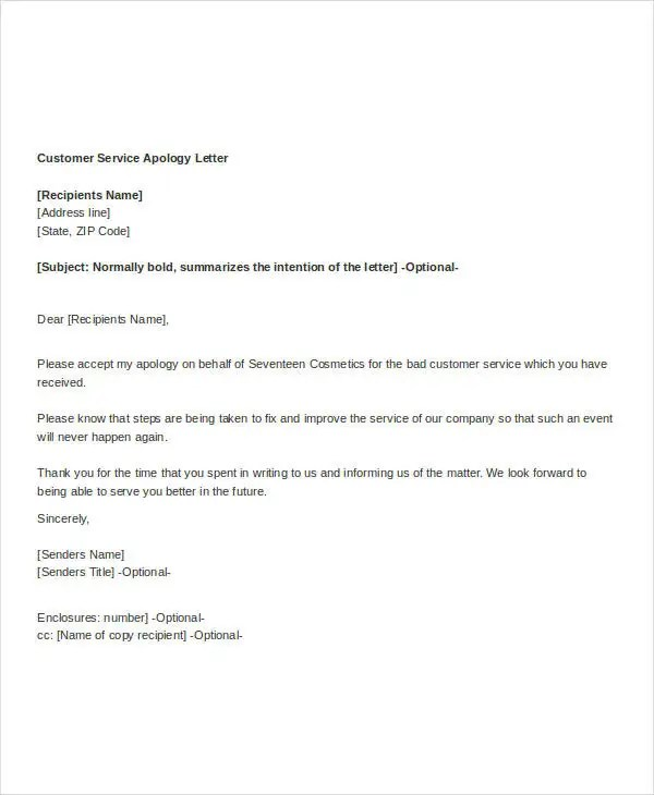 Apology Letter Format - FREE DOWNLOAD