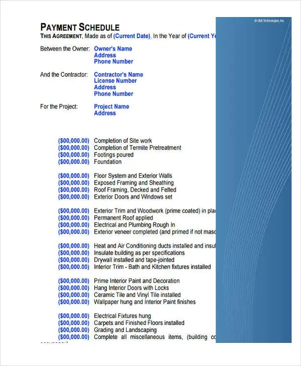6 Project Payment Schedule Templates 6 Free Word PDF