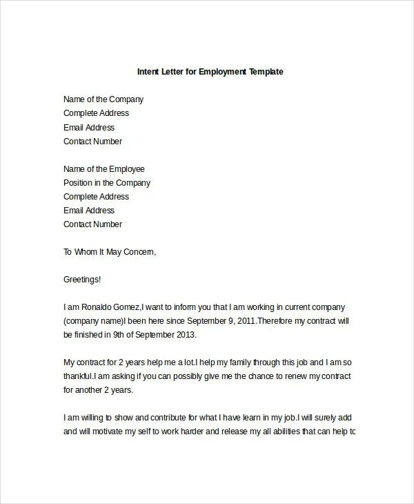 sample letter of intent for employment