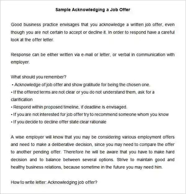 responding to a job offer email sample