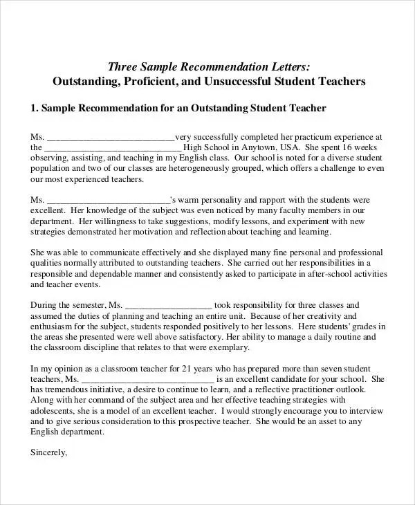 letter of recommendations for teachers