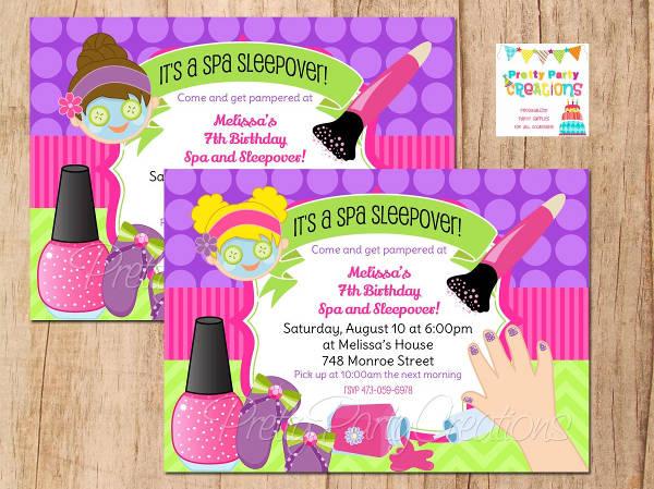 12 spa party invitations psd ai