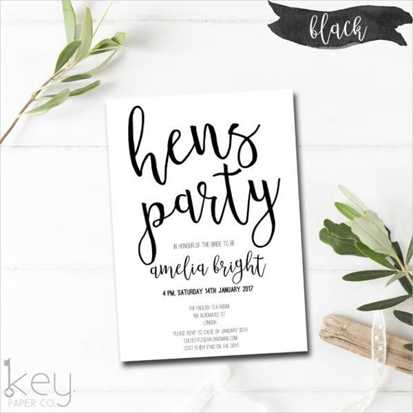7 hen party invitation
