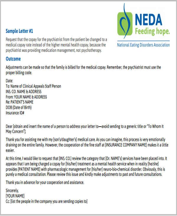 insurance claim letter for reimbursement