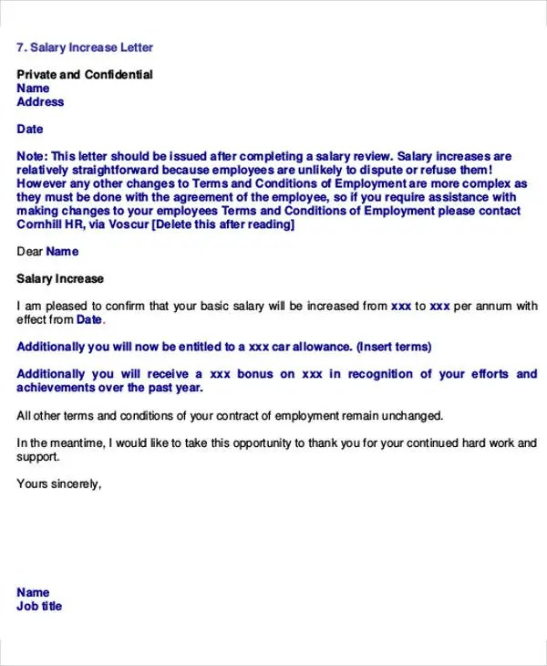 Salary Letter Templates 5 Free Sample Example Format